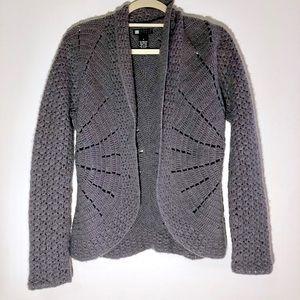 Carole Little Gray Chunky Starburst Knit Cardigan